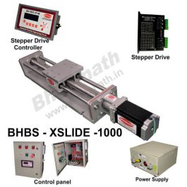 LINEAR SLIDE (X/Y/Z) BALL SCREW LENGTH 1000 MM LINEAR POSITIONING TABLE  WITH STEPPER MOTOR, STEPPER DRIVE, POWERSUPPLY, CONTROLLER & CONTROL PANEL