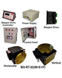 BH-RT 02 (M+E+P) ROTARY TABLE WITH HELICAL WORM GEARED BRAKE STEPPER MOTOR, STEPPER DRIVE, POWERSUPPLY, CONTROLLER & CONTROL PANEL