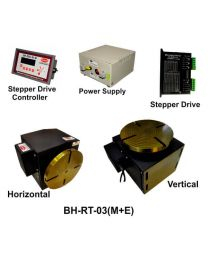 BH-RT 03 (M+E) ROTARY TABLE WITH HELICAL WORM GEARED BRAKE STEPPER MOTOR, STEPPER DRIVE, POWERSUPPLY & CONTROLLER
