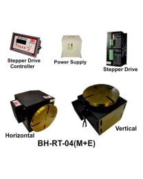 BH-RT 04 (M+E) ROTARY TABLE WITH HELICAL WORM GEARED BRAKE STEPPER MOTOR, STEPPER DRIVE, POWERSUPPLY & CONTROLLER