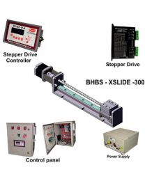 HEAVY LOAD LINEAR BALL SCREW SLIDE 300 MM WITH STEPPER MOTOR, STEPPER DRIVE, POWERSUPPLY, CONTROLLER & CONTROL PANEL