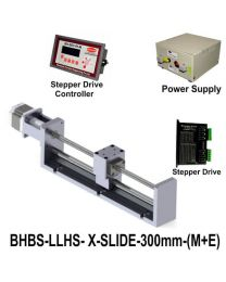 LIGHT LOAD HIGH SPEED LINEAR BALL SCREW SLIDE 300 MM WITH STEPPER MOTOR, STEPPER DRIVE, POWERSUPPLY & CONTROLLER