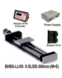 LIGHT LOAD HIGH SPEED LINEAR BALL SCREW SLIDE 500 MM WITH STEPPER MOTOR, STEPPER DRIVE, POWERSUPPLY & CONTROLLER