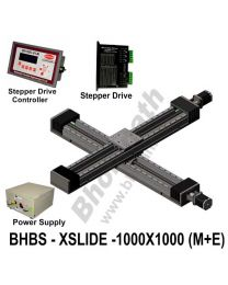 LINEAR XY HEAVY LOAD BALL SCREW SLIDES 1000X1000 MM WITH STEPPER MOTORS, STEPPER DRIVES, POWERSUPPLY & CONTROLLER
