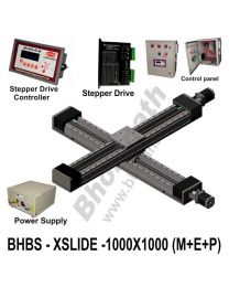LINEAR XY BALL SCREW SLIDES 1000X1000 MM WITH STEPPER MOTORS, STEPPER DRIVES, POWERSUPPLY, CONTROLLER & CONTROL PANEL