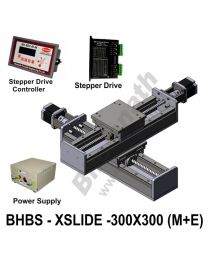 LINEAR XY HEAVY LOAD BALL SCREW SLIDES 300X300 MM WITH STEPPER MOTORS, STEPPER DRIVES, POWERSUPPLY & CONTROLLER