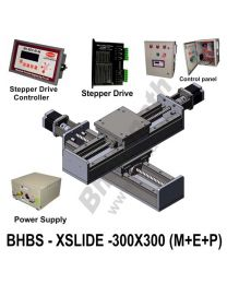 LINEAR XY BALL SCREW SLIDES 300X300 MM WITH STEPPER MOTORS, STEPPER DRIVES, POWERSUPPLY, CONTROLLER & CONTROL PANEL