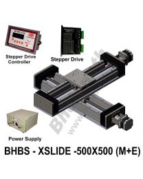 LINEAR XY HEAVY LOAD BALL SCREW SLIDES 500X500 MM WITH STEPPER MOTORS, STEPPER DRIVES, POWERSUPPLY & CONTROLLER