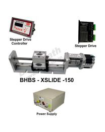 HEAVY LOAD LINEAR  BALL SCREW SLIDE 150 MM WITH STEPPER MOTOR, STEPPER DRIVE, POWERSUPPLY & CONTROLLER