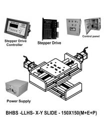 LINEAR XY LIGHT LOAD HIGH SPEED BALL SCREW 150X150 MM WITH STEPPER MOTORS, STEPPER DRIVES, POWERSUPPLY, CONTROLLER & CONTROL PANEL