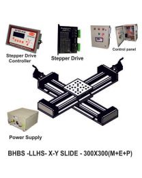 LINEAR XY LIGHT LOAD HIGH SPEED BALL SCREW 300X300 MM WITH STEPPER MOTORS, STEPPER DRIVES, POWERSUPPLY, CONTROLLER & CONTROL PANEL