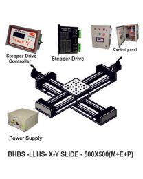 LINEAR XY LIGHT LOAD HIGH SPEED BALL SCREW 500X500 MM WITH STEPPER MOTORS, STEPPER DRIVES, POWERSUPPLY, CONTROLLER & CONTROL PANEL