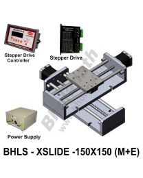 LINEAR XY LEAD SCREW SLIDES 150X150 MM WITH STEPPER MOTORS, STEPPER DRIVES, POWERSUPPLY & CONTROLLER