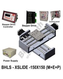 LINEAR XY LEAD SCREW SLIDES 150X150 MM WITH STEPPER MOTORS, STEPPER DRIVES, POWERSUPPLY, CONTROLLER & CONTROL PANEL