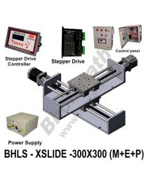 LINEAR XY LEAD SCREW SLIDES 300X300 MM WITH STEPPER MOTORS, STEPPER DRIVES, POWERSUPPLY, CONTROLLER & CONTROL PANEL