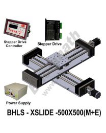 LINEAR XY LEAD SCREW SLIDES 500X500 MM WITH STEPPER MOTORS, STEPPER DRIVES, POWERSUPPLY & CONTROLLER