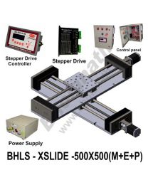 LINEAR XY LEAD SCREW SLIDES 500X500 MM WITH STEPPER MOTORS, STEPPER DRIVES, POWERSUPPLY, CONTROLLER & CONTROL PANEL