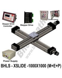 LINEAR XY LEAD SCREW SLIDES 1000X1000 MM WITH STEPPER MOTORS, STEPPER DRIVES, POWERSUPPLY, CONTROLLER & CONTROL PANEL